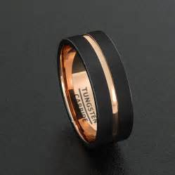 mens tungsten wedding band mens wedding band tungsten ring two tone 8mm black brushed gold center groove flat edge