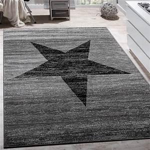 Flur Teppich Grau : designer teppich stern muster modern trendig kurzflor meliert in grau schwarz teppiche kurzflor ~ Indierocktalk.com Haus und Dekorationen