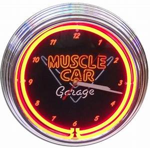 Muscle Car Garage Neon Clock