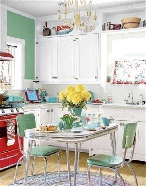 1950s Kitchen, Mint Green, Red And White  Vintage Kitchen