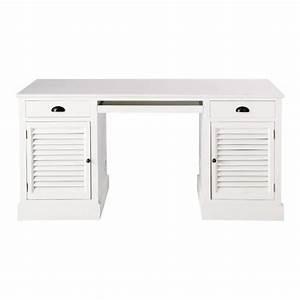 Bureau 150 Cm : bureau en bois blanc l 150 cm barbade maisons du monde ~ Teatrodelosmanantiales.com Idées de Décoration
