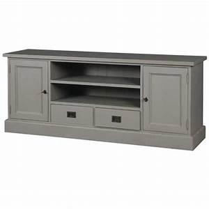 Meuble Tele Gris : meuble tv 2 portes 2 casiers 2 tiroirs pin gris ~ Teatrodelosmanantiales.com Idées de Décoration