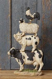 new primitive country large cow pig sheep rooster stacked
