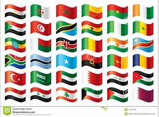 Wavy Flags Set Africa & Middle East Stock Vector