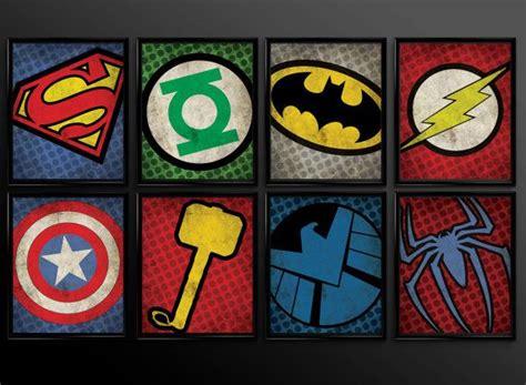 set of 8 superhero kids wall art decor nursery superman