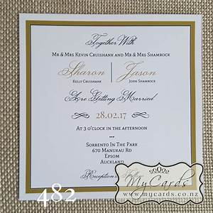 elegant gold border square wedding invitation design 482 With wedding invitations printing auckland