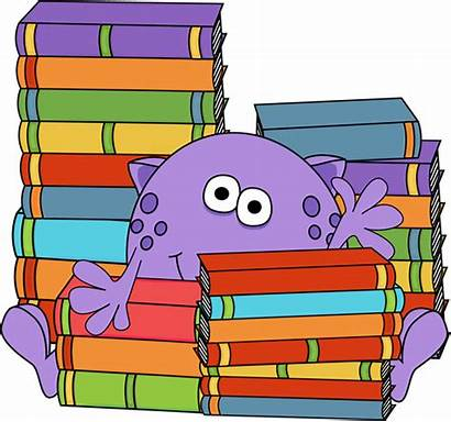 Monster Books Surrounded Reading Clip Clipart Cartoon