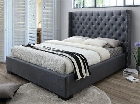 chambre design gris lit massimo tête de lit capitonnée 160x200 tissu