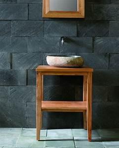 Waschbecken Auf Tisch : waschtisch set bestehend aus tisch waschbecken spiegel aus teakholz flussstein badm bel ~ Sanjose-hotels-ca.com Haus und Dekorationen