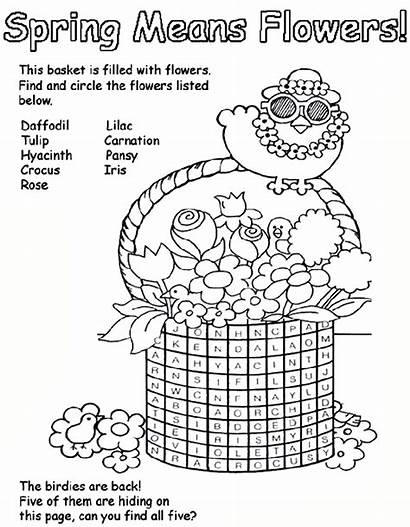 Spring Coloring Pages Flowers Easter Crayola Word