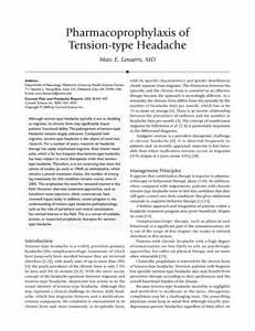 Pharmacoprophylaxis of tension-type headache Tension-Type Headache
