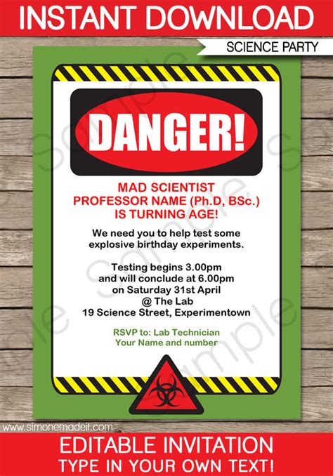 science party invitations mad science birthday party