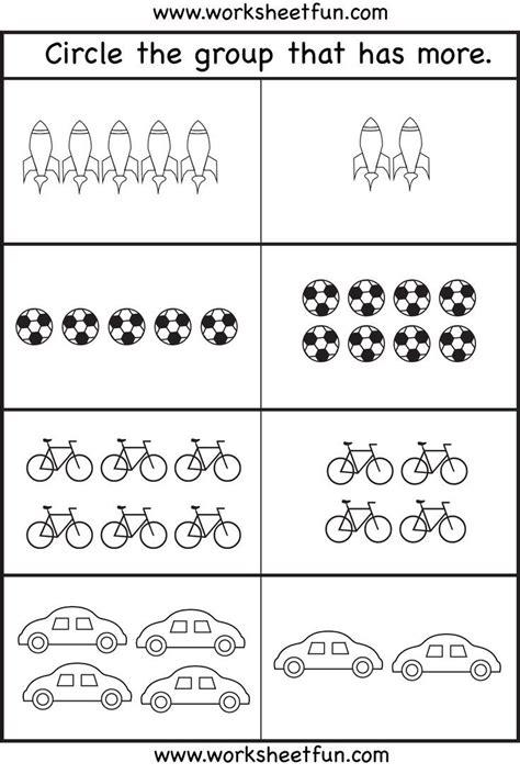 comparison worksheets more or less kindergarten
