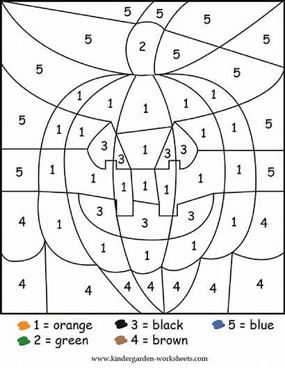 Worksheets Kindergarten Halloween Numbers Math Coloring Printable