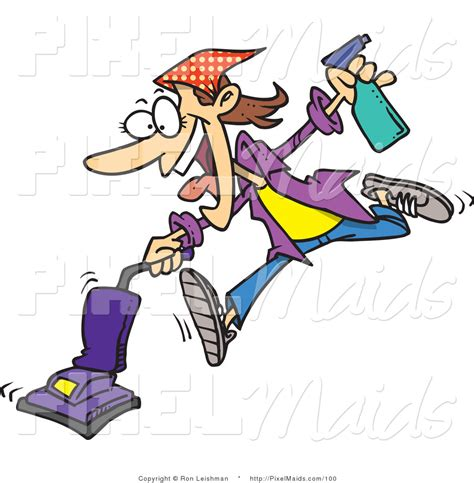 Cartoon Cleaning Woman