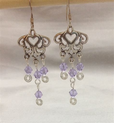 sterling silver chandelier earring with a swarovski