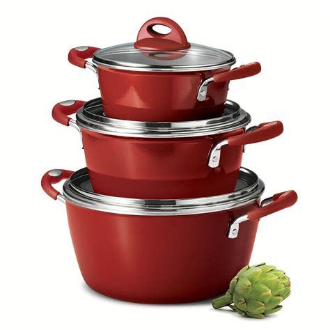 amazoncom tramontina  piece stackable cookware set cayenne red kitchen dining cookware