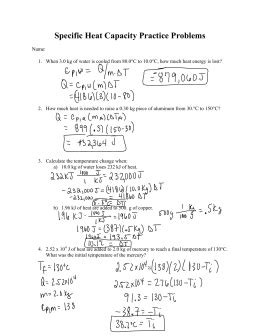 Specific Heat Problems Worksheet Worksheets For All  Download And Share Worksheets  Free On
