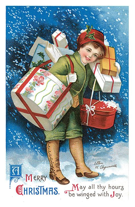 merry christmas vintage card painting  unknown