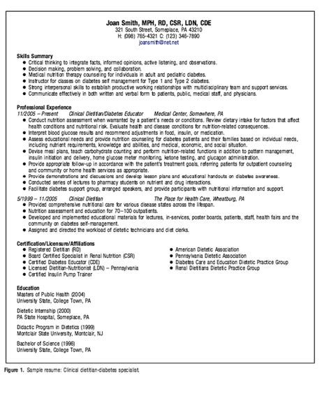 clinical dietitian specialist resume exle resumes design