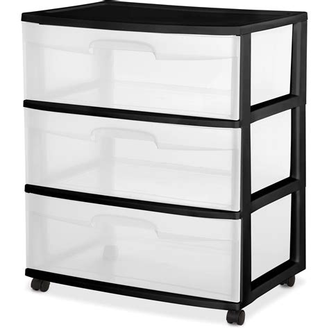 Plastic Storage Cabinet 3 Drawer Sterilite Wide Rolling