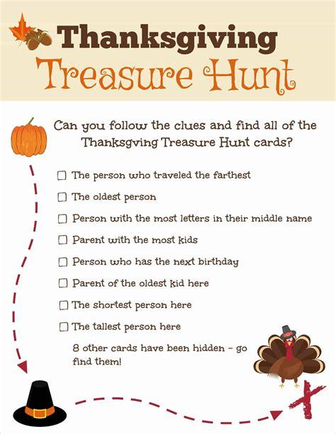 thanksgiving treasure hunt  printable  sage street