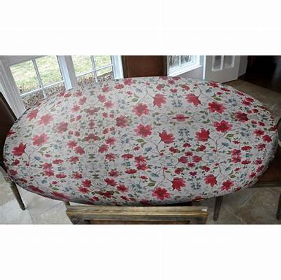 Oblong Table Elastic Oval Watercolor Floral Fitted