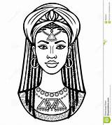 African Turban Portrait Drawing Young Vector Illustration Animation Royalty Clothes sketch template