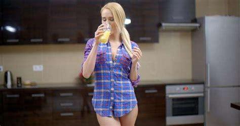 sexy bottomless woman wearing blue violet shirt