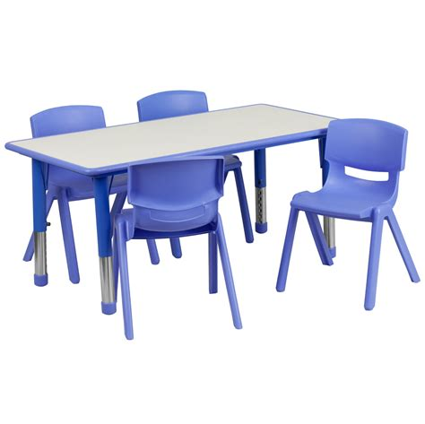 large blue plastic rectangle adjustable school table and 4