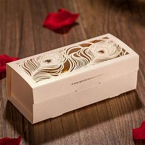 wholesale 50 piece peacock feather cut out wedding favor With cheap wedding favor boxes