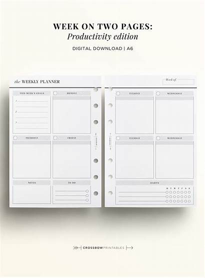 A6 Planner Inserts Weekly Printable Pages Week