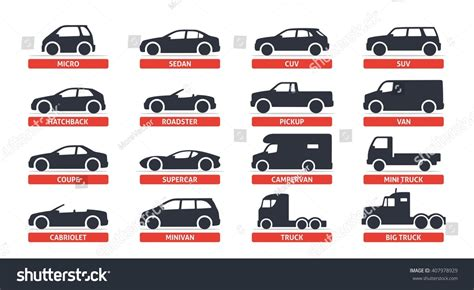 Car Type And Model Objects Icons Set . Vector Black