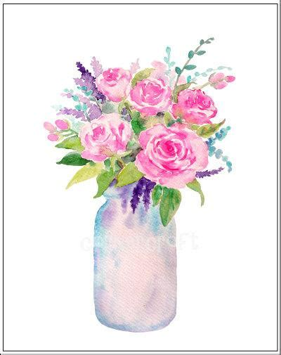 watercolour vase  flowers mason jar flowers watercolor