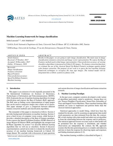 (PDF) Machine Learning framework for image classification