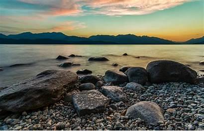 Sunset Water Brown Rocks Scenery Peaceful Nature