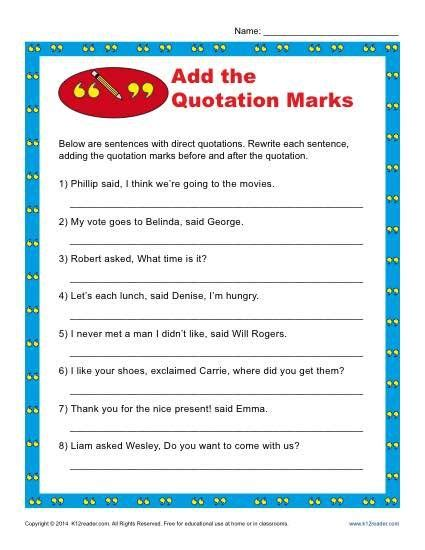 add the quotation marks worksheet quotation free