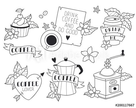 coffee illustrations set cute style coffee machine grinder mug cup quotes  coffee