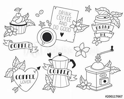 Stickers Coffee Quotes Line Illustrations Vectors