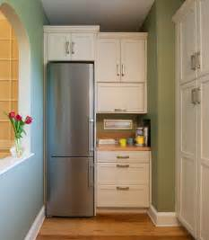 narrow kitchen design with refrigerator corner beside small cabinet kitchen also blue