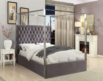 5936 canopy for bed reviews porter upholstered bed in grey velvet fabric by