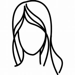 Female with long wavy hair outline Icons | Free Download