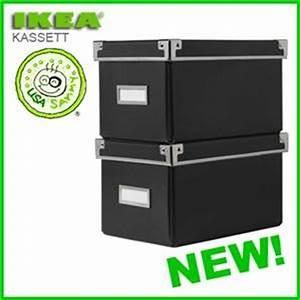 Ikea Cd Box : 2 black ikea storage cd boxes w lids container cases ebay ~ Frokenaadalensverden.com Haus und Dekorationen