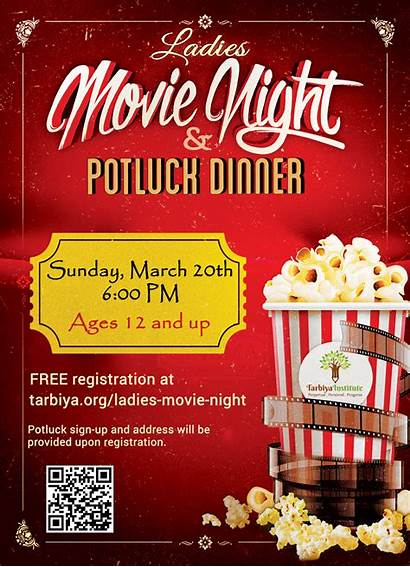 Night Ladies Flyer Date Dinner Potluck Tarbiya