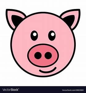 Simple cartoon of a cute pig Royalty Free Vector Image