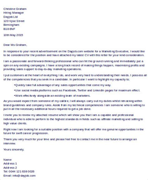 Cover Letter For Marketing Executive by Sle Executive Cover Letters 10 Exles In Word Pdf