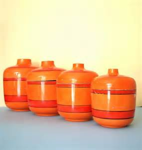orange kitchen canisters orange retro canisters mid century kitchen lacquer ware kitsch