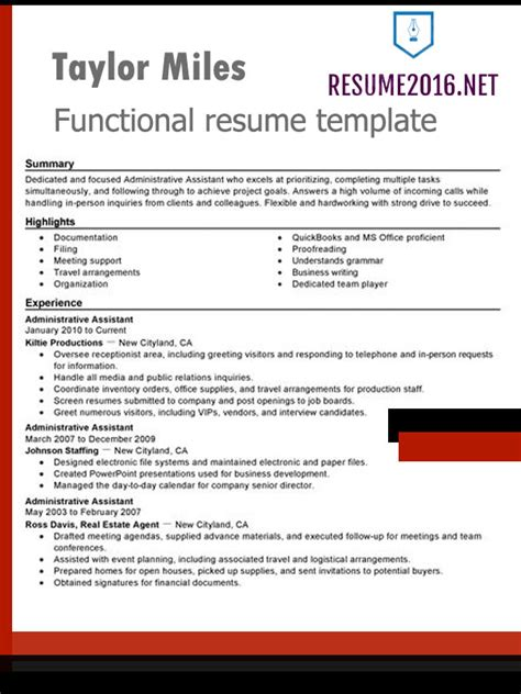 Skills Resume Format by Functional Resume Format 2016 How To Highlight Skills
