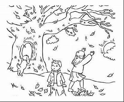 Coloring Pages Scenery Fall Landscape Getdrawings