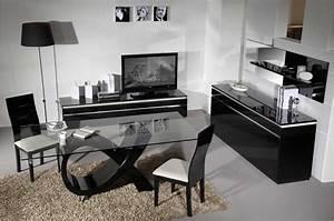 table a manger rectangulaire en verre et laque With meuble salle À manger avec table a manger noir pas cher